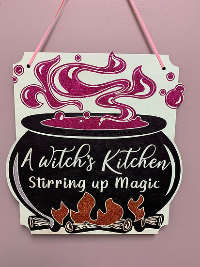 """A witch's kitchen stirring up magic"" Glitter Halloween Sign"