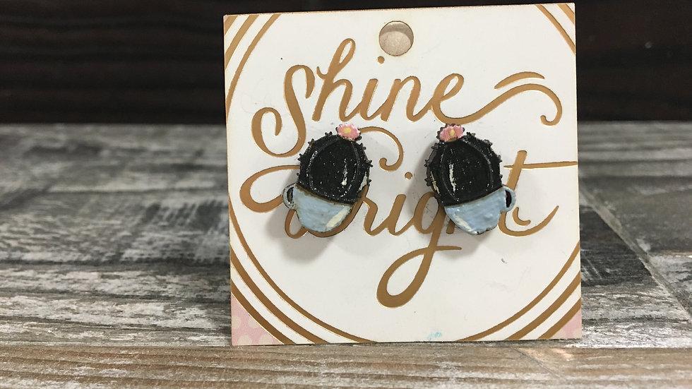 Cactus wooden stud earrings!
