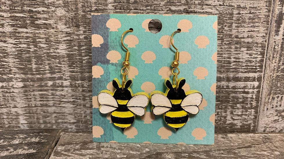 Wooden Bee dangle/drop earrings 4 styles.