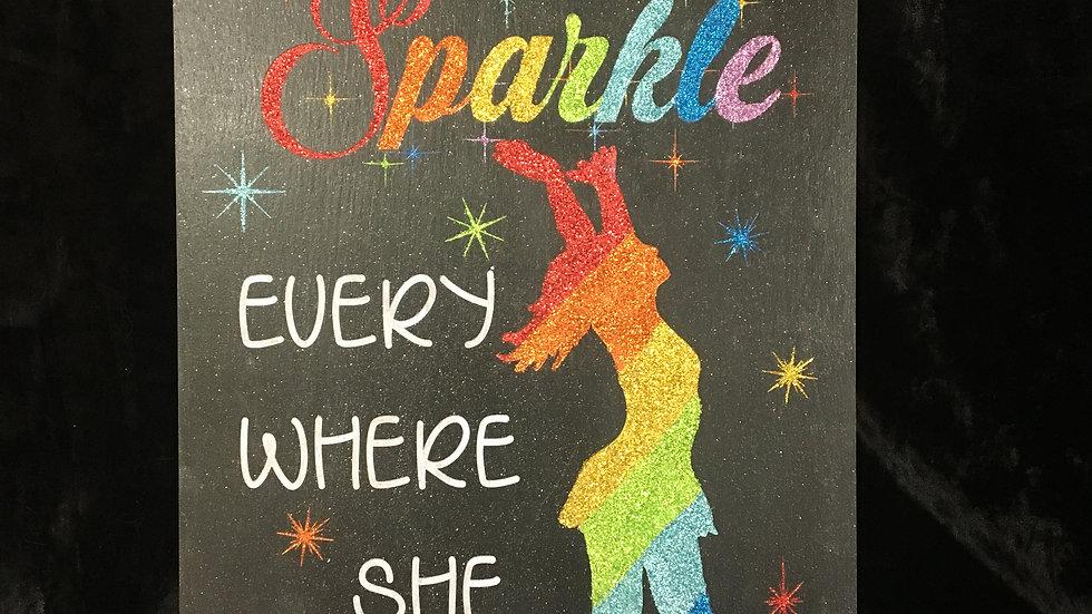 "Glittered ""She leaves a little sparkle everywhere she goes"" Home decor"