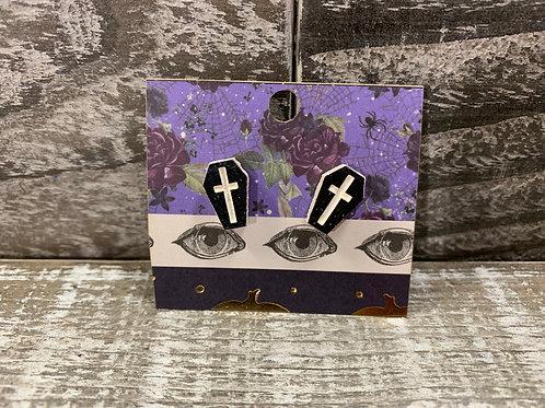 Coffin wooden stud earrings 3 styles!