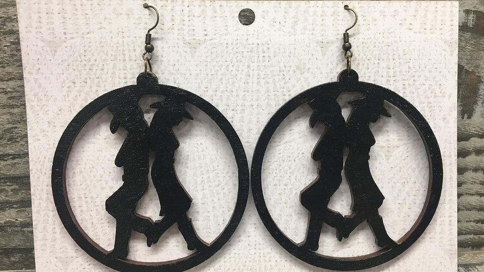 Large western wooden hoop earrings. 3 Styles!