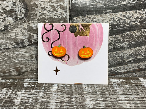 Pumpkin & Jack-o-lantern wooden stud earrings!
