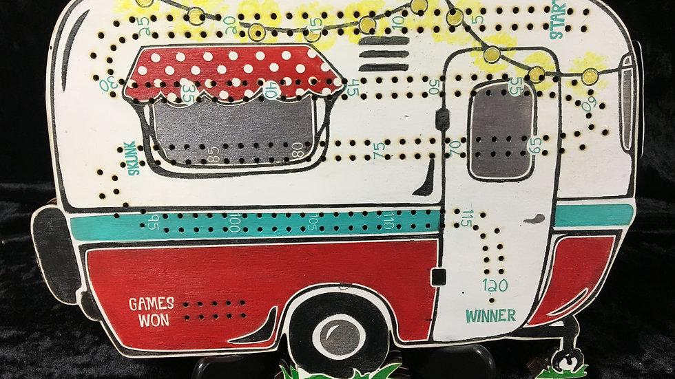 Retro white/blue/red bowler Camper Crib Board / cribbage board