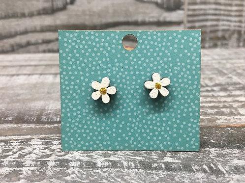 Retro style flower wooden stud earrings 7 colors!