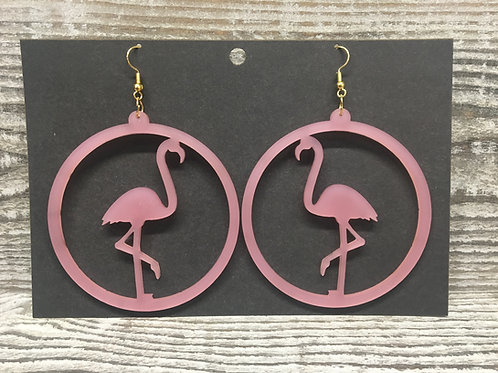 Large hoop flamingo earrings 6 different colors!