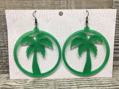 Large matte green palm tree hoop acrylic earrings.
