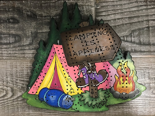 Camping is Happiness 2,3 or 4 Player Camping Crib board/Cribbage Board