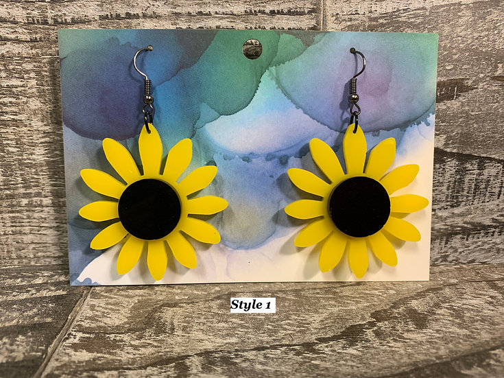 Acrylic sunflower dangle/drop earrings 4 styles!