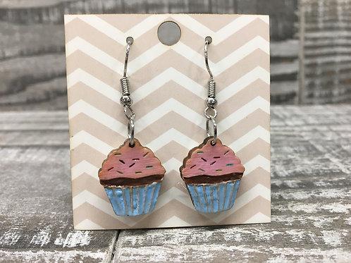 Chocolate cupcake ,pink frosting , rainbow sprinkles wood dangle/drop earrings