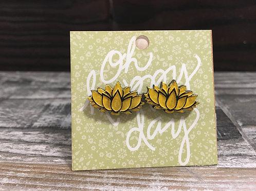 Lotus flower wooden stud earrings!