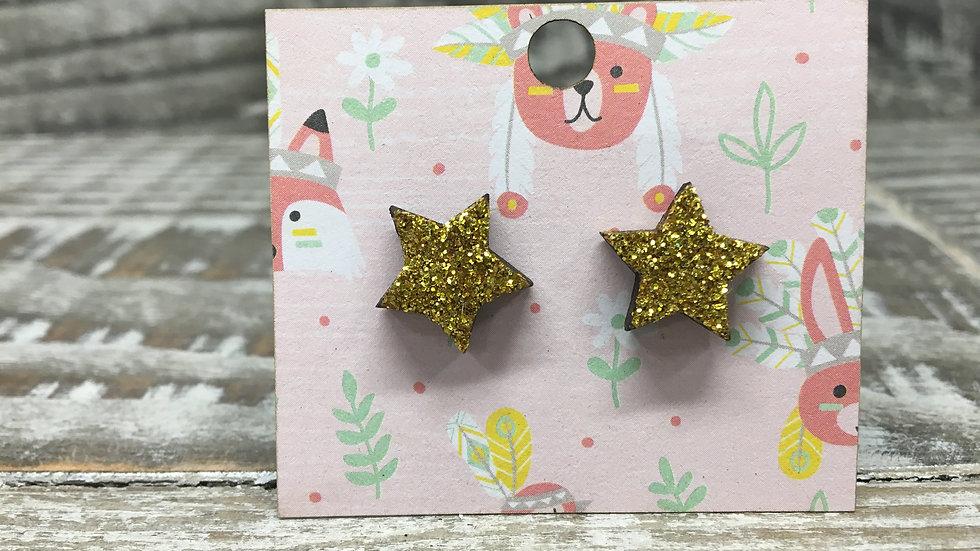 Glittered gold star wooden stud earrings!