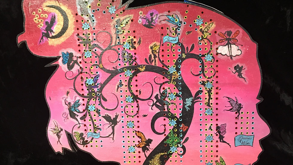 Glitter Fairies On Her Mind crib board/cribbage board