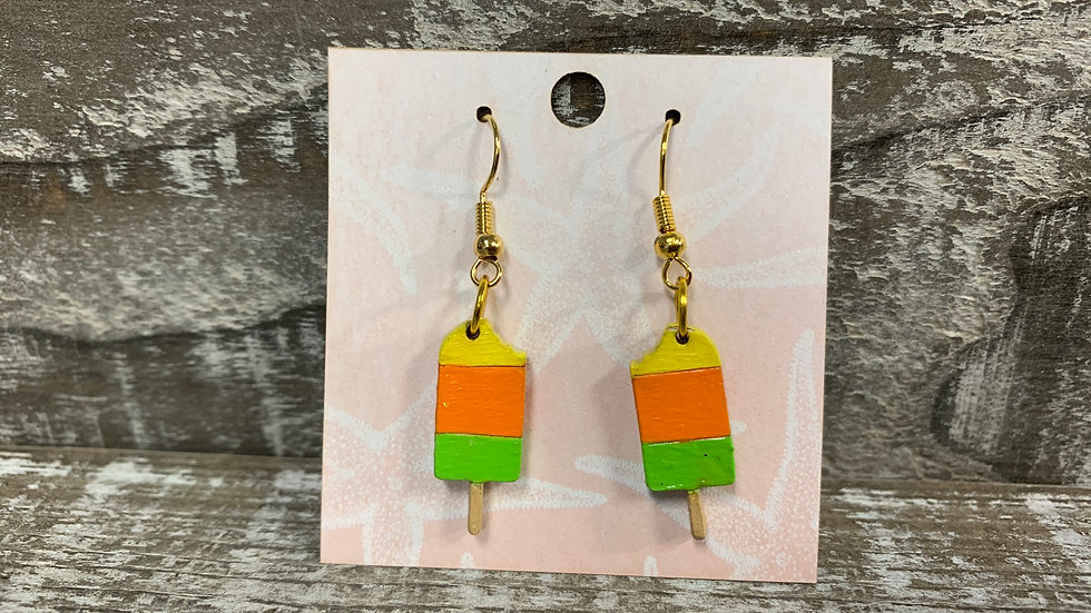 Pastel and neon Popsicle earrings wood dangle/drop earrings 6 different styles!