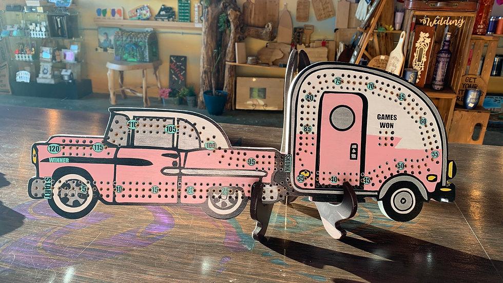 Vintage pink Cadillac with trailer Crib board/Cribbage Board
