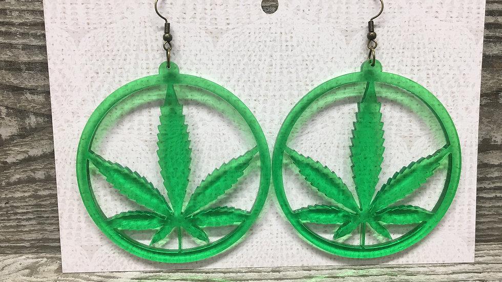 Large green weed leaf hoop acrylic earrings.