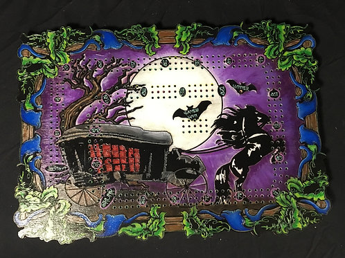 Moonlight the Gothic horse carriage crib board/cribbage board 3 player with pegs