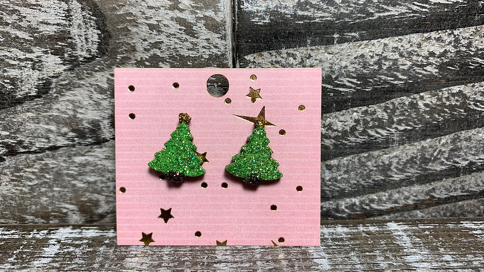 Glitter Christmas tree wooden stud earrings 35 colors!