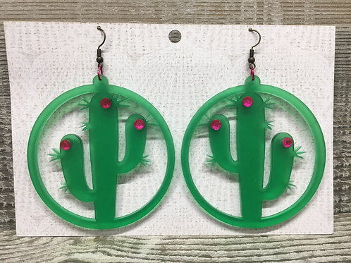 Large matte green cactus hoop acrylic earrings, 4 different styles!