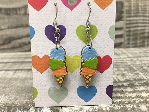 Pastel blue, green and peach ice cream cone wood dangle/drop earrings