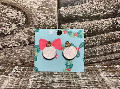 Glitter wood vintage Christmas ornament stud earrings 35 colors!