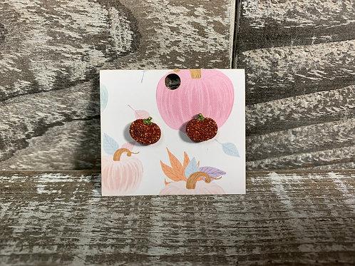 Glittered pumpkin wood stud earrings 35 colours!