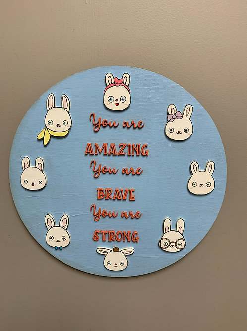 """""""You are AMAZING you are BRAVE you are STRONG"""" 3D round home decor sign"""