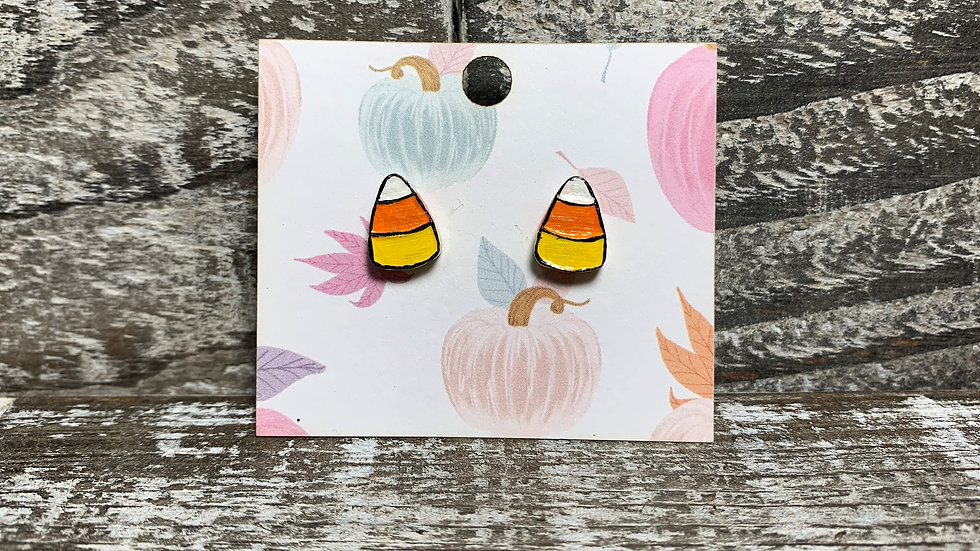 Candy corn wooden stud earrings 2 styles!