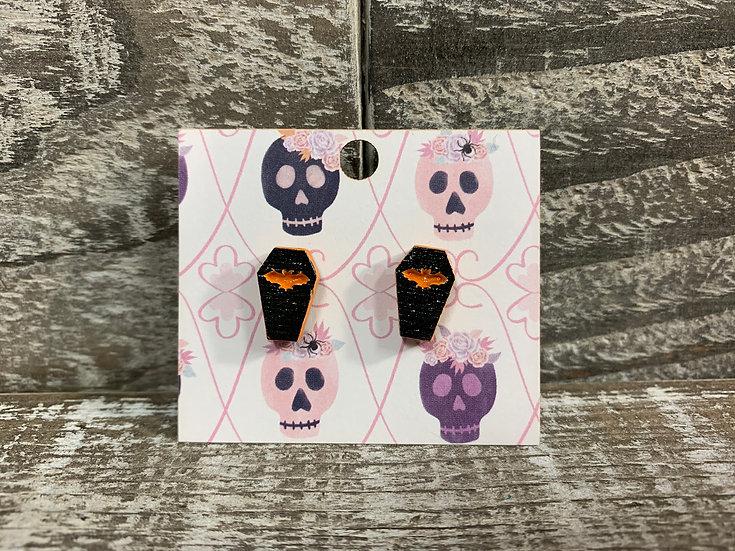 Coffin wooden stud earrings bat style!