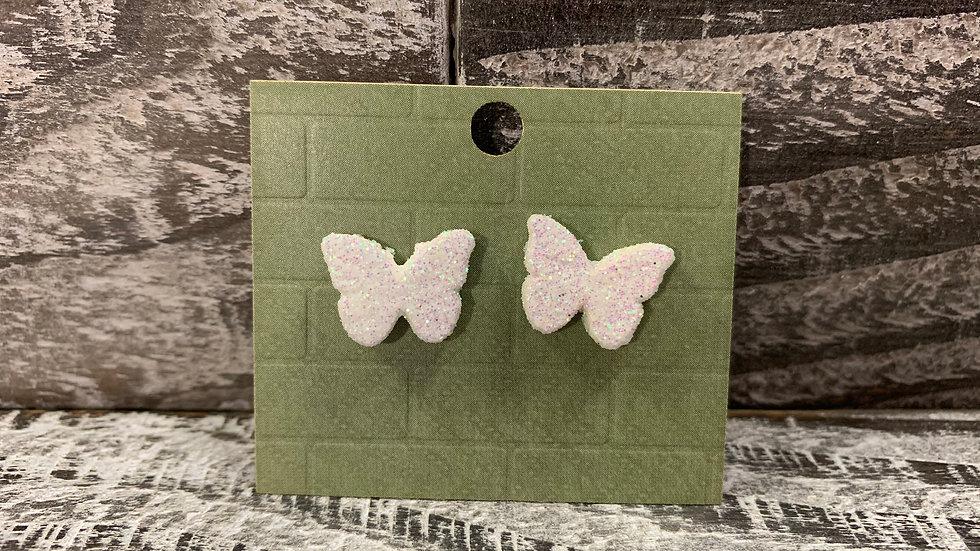 Glitter wood butterfly stud earrings 35 colours!
