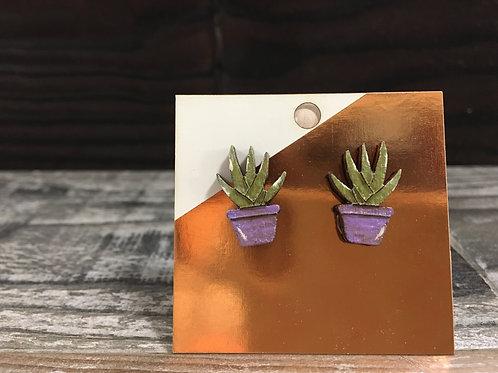 Aloe wooden stud earrings!