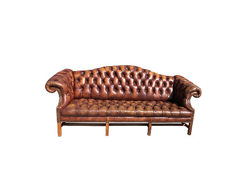 1980s Vintage Chesterfield Style Chippendale Humpback Sofa