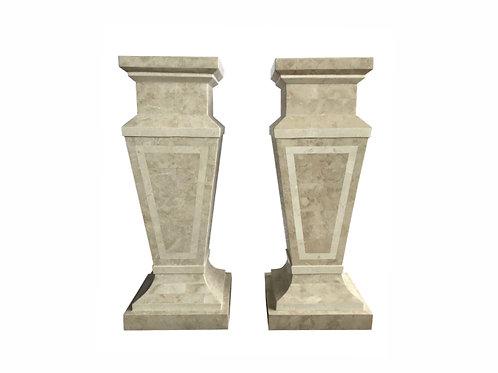 Late 20th Century Tessellated Stone Column Pedestal - A Pair