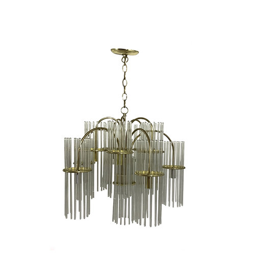 Mid-Century Modern Vanity Light With Brass and Glass Rods by Lightolier