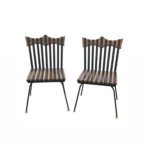 Industrial Hand Forged Brutalist Design Wood & Iron Chairs - a Pair