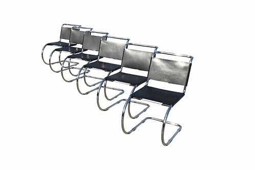 Cantilever Black Leather Chairs by Ludwig Mies Van Der Rohe for Alivar - Set of