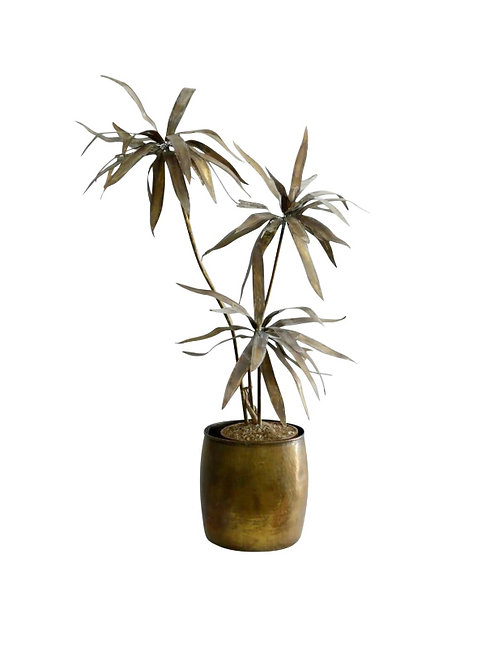 Mid-Century Modern Brutalist Brass Palm Tree in the Style of Curtis Jere