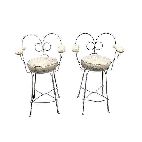 1920's Vintage Twisted Iron Ice Cream Parlor Stools - A Pair
