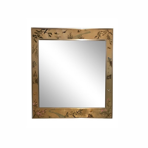 Vintage 1986 LaBarge Eglomisé Beveled Mirror Artist Signed Elinor Burns