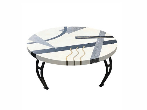 Memphis Marble and Brass Inlay Coffee Table