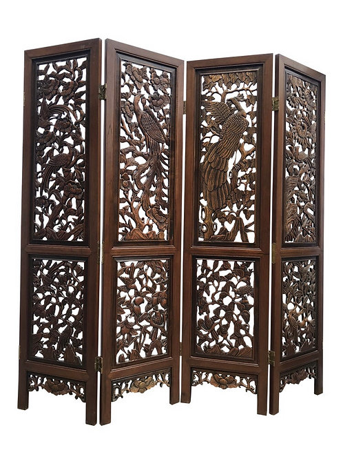 Chinese Four-Panel Carved Rosewood Room Divider Screen
