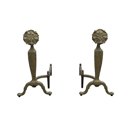 Antique Iron Flower Andirons by Howes - a Pair