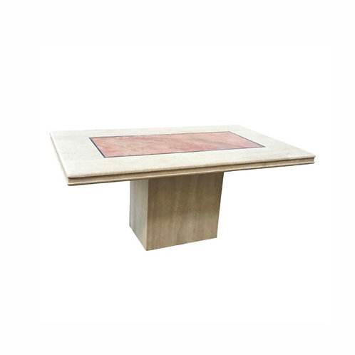 Vintage Travertine Dining Table With Marble Inlay