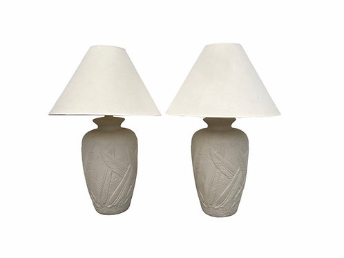 Cream Plaster Banana Leaf Lamps - a Pair