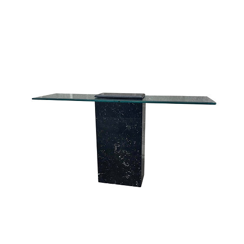 Mid Century Modern Black Marble Floating Glass Console Table