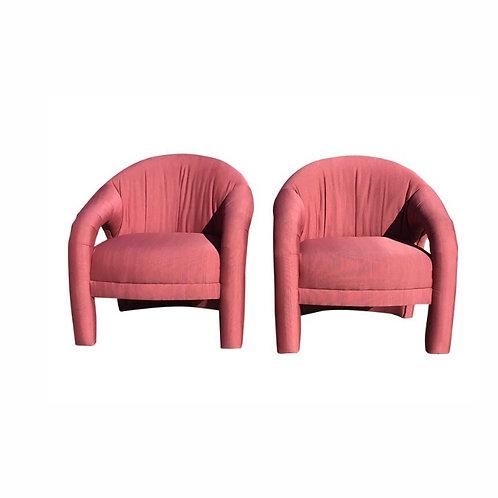 Vladimir Kagan Style Sculptural Lounge Chairs - a Pair