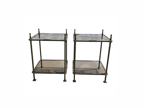Italian Claudio Rayes Bronzed Iron Two Tiered Tables - a Pair