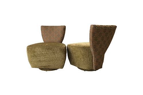 21st Century Sculptural Fan Back Swivel Lounge Chairs - a Pair