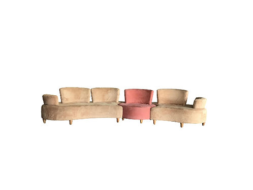 1990s Vintage Normand Couture Retro Modular 3 Piece Sectional