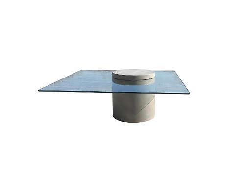 Industrial Modern Concrete and Glass Cantilevered Coffee Table